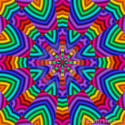 Abstract Fractal Kaleidoscope In Rainbow Colors. Stock Photo ...