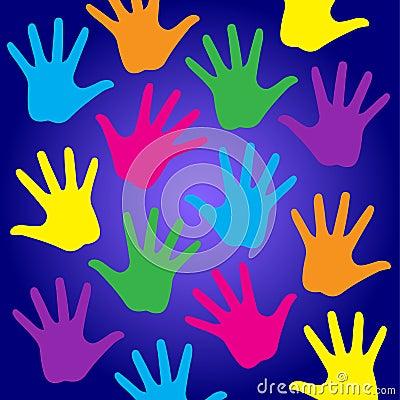 Rainbow kids hands