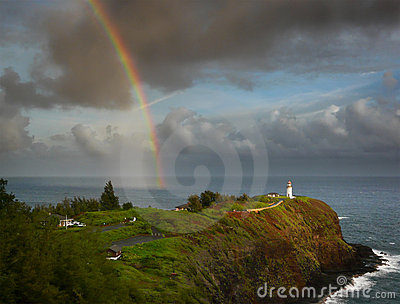 Rainbow and lighthouse