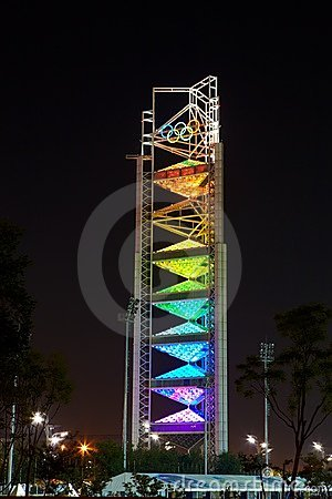 RAINBOW LIGHTING OF THE OLYMPIC TOWER Editorial Photo