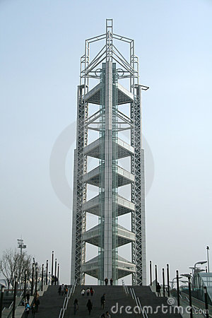 Rainbow of lights on Olympic tower Beijing Editorial Stock Photo