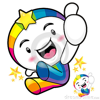 Rainbow mascot jumping. The best gesture of the right hand is ta