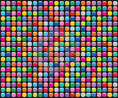 Rainbow mosaic buttons black