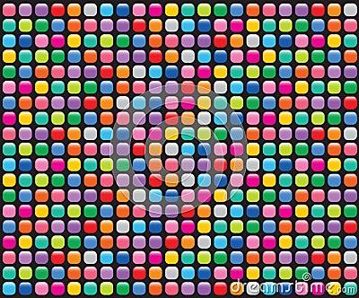 Rainbow mosaic buttons black