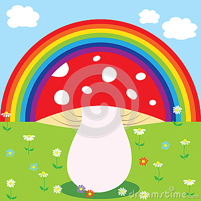 Rainbow and mushroom