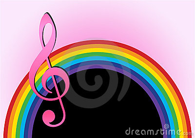 Rainbow with music note