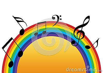 Rainbow music sun