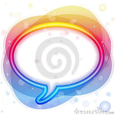 Free Rainbow Neon Lights Speech Bubble Royalty Free Stock Photography - 15918277