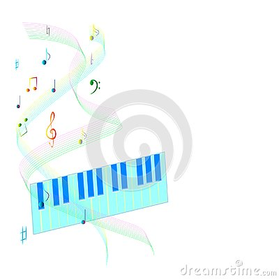 Rainbow notes and piano blue background Vector Illustration