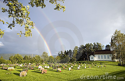 Rainbow over church,Norway