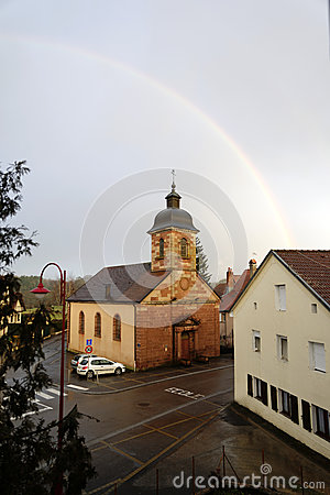 Rainbow over the church