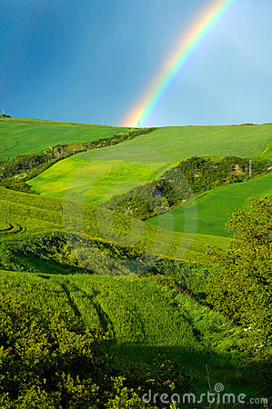 Free Rainbow Over Fields Royalty Free Stock Photography - 2491307