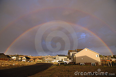 Rainbow Over Homes