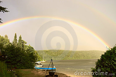 Rainbow over a lake 2
