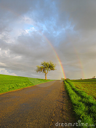 Free Rainbow Over Road Stock Images - 15994924