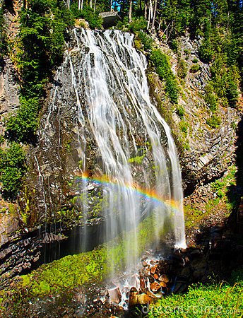 Rainbow over waterfall, Mount Rainier, Washington