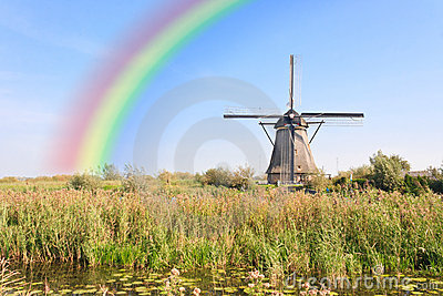 Rainbow over the Windmill at Kinderdijk