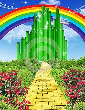 Rainbow over the yellow brick road Stock Photo