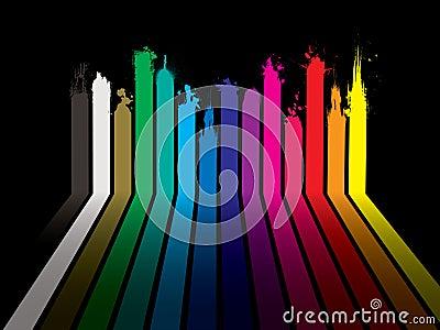 Rainbow paint dribble black