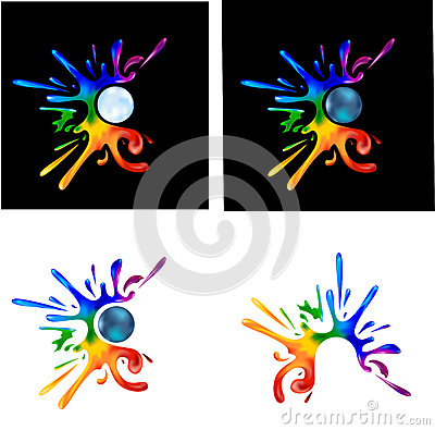 Rainbow paint splatters