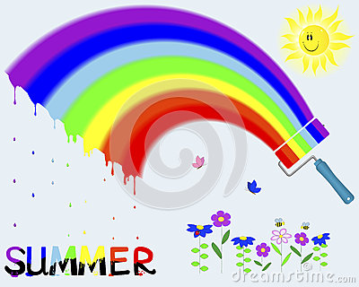Rainbow and painted the word Summer.