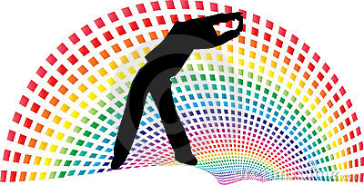 Rainbow path above women in exercise