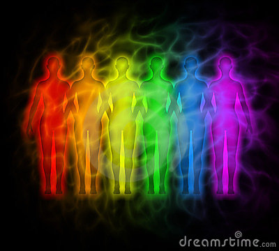 Rainbow people - rainbow silhouettes of human aura