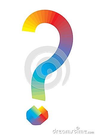Rainbow question mark - vector