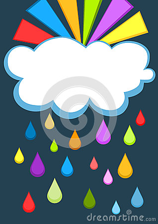 Rainbow and rain cloud greeting card
