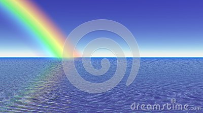 Rainbow and sea - 3D render