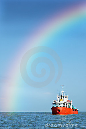 Free Rainbow Ship Stock Photography - 990952
