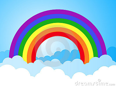 Rainbow sky with clouds cartoon background