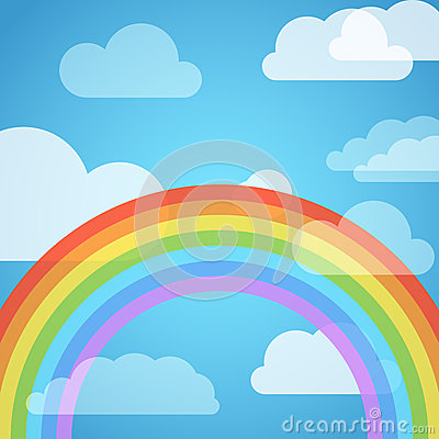 Rainbow in the sky with white clouds