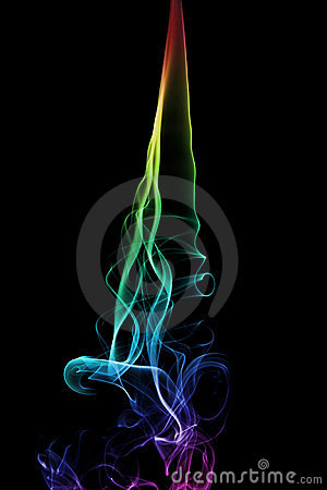 Rainbow Smoke Trail on Black Background