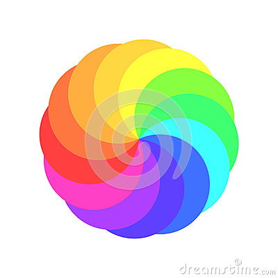Rainbow spectrum color wheel. Children wind vane vector illustration Vector Illustration