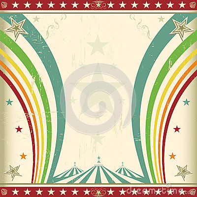 Rainbow square circus invitation.