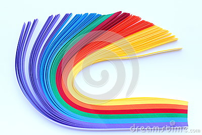 Rainbow strip of paper bend