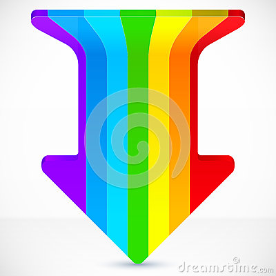 Rainbow stripes realistic plastic vector up arrow