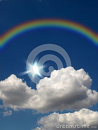 Rainbow, sun and cloud
