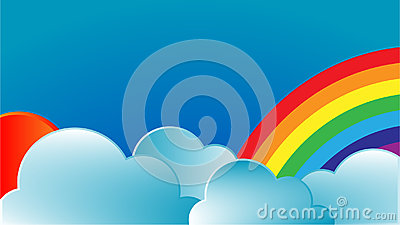Rainbow with sun and clouds Stock Photo