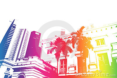 Rainbow Trendy and Modern City Life Abstract