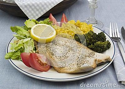 Rainbow trout dinner