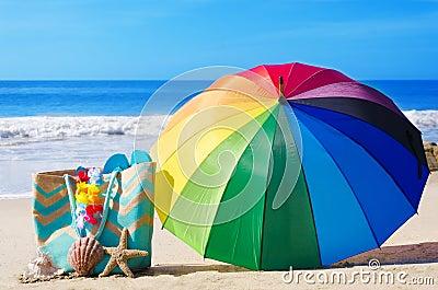 Rainbow umbrella and beach bag