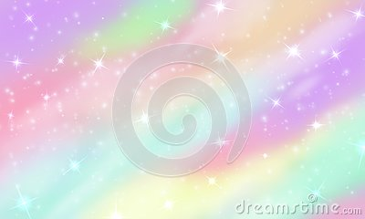 Rainbow unicorn background. Mermaid glittering galaxy in pastel colors with stars bokeh. Magic pink holographic vector Vector Illustration