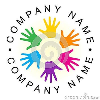 Rainbow unity hand logo