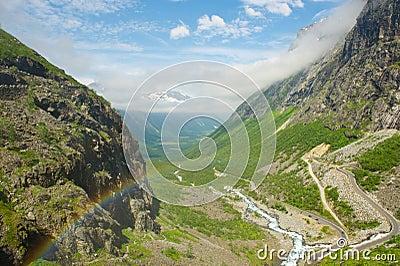 Rainbow in the valley Trollstigen. Norway