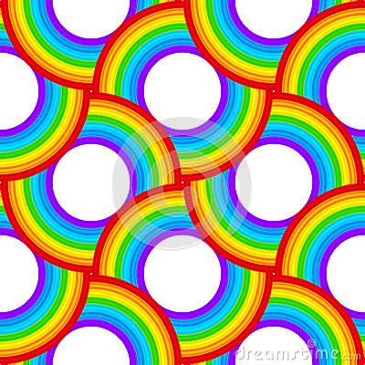 Rainbow vector circles seamless pattern