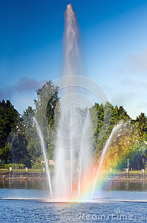 Rainbow On The Water Fountain Royalty Free Stock Photos - Image: 25422808