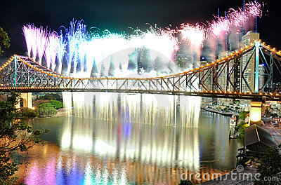 Rainbow and Waterfall at Riverfire Editorial Stock Photo