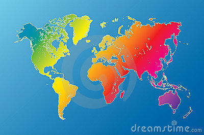 rainbow world map highly detailed vector